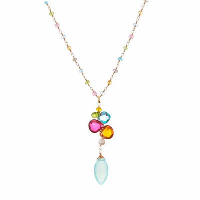 Colorful Kaleidoscope Gems Pendant Necklace-Anna Balkan