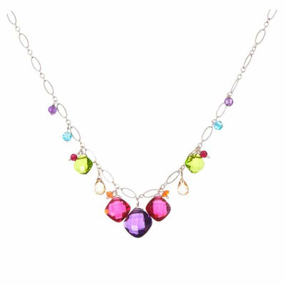 Chakras Zina Colorful Gemstone Necklace-Anna Balkan