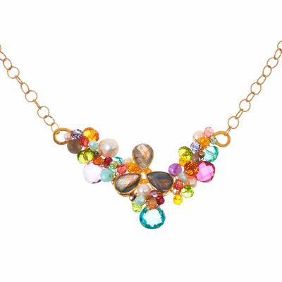 Ray's Branch Necklace with Bezeled Tri-Leaf - Anna Balkan