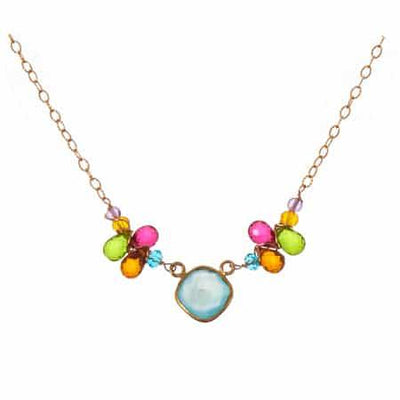 Mia Colorful Bezeled Necklace with Teardrops-Anna Balkan