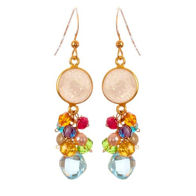 Sienna Druzy Bezel and Square Gem Earrings-Anna Balkan