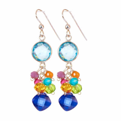 Sienna Bezel and Square Colorful Gems Earrings-Anna Balkan