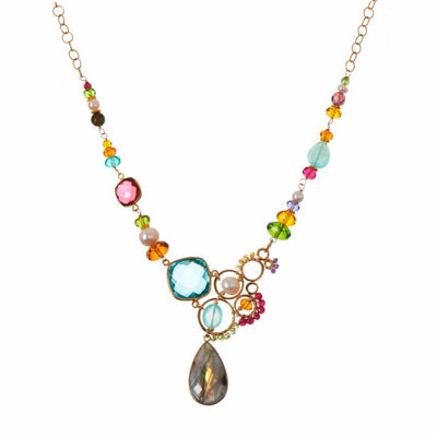 Arianna Large Bubble Colorful Gemstone Necklace-Anna Balkan