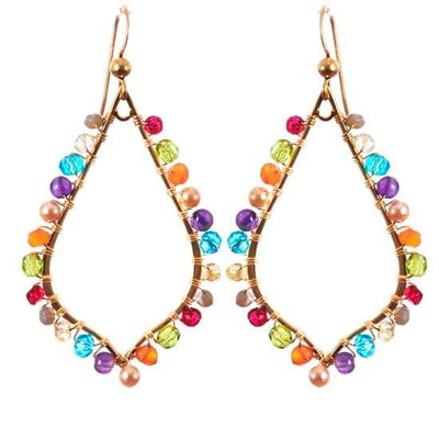 Madison Colorful Petal Hoop Earrings-Anna Balkan
