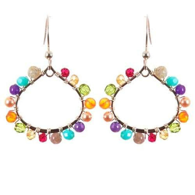Lily Mini Petal Colorful Hoop Earrings-Anna Balkan