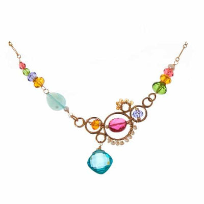 Zoe Colorful Statement Bubble Necklace-Anna Balkan
