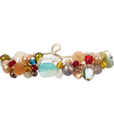 Shepards Hook Signature Aqua Chalcedony and Gems Bracelet-Anna Balkan