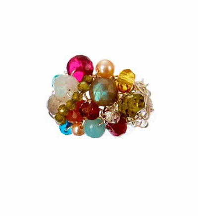 Best Selling Adjustable Woven Gemstone Ring (size 4-9)-Anna Balkan