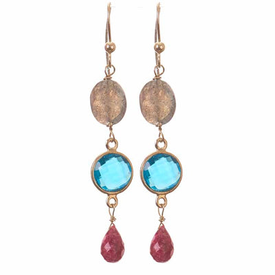 Piper Three Tier Drop Earrings-Anna Balkan