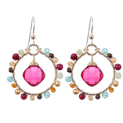 Gems Hoops Earrings-Anna Balkan