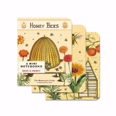 bees and honey Three Mini Vintage Notebooks