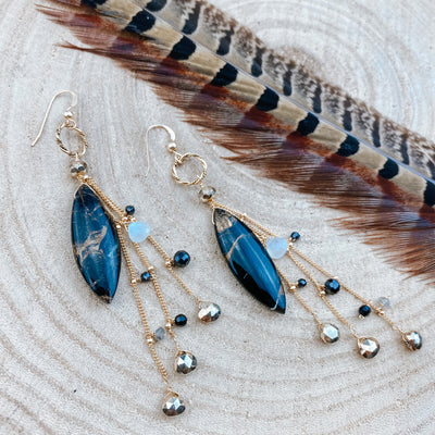 Large Marquee Copper Obsidian Raindrop Earrings