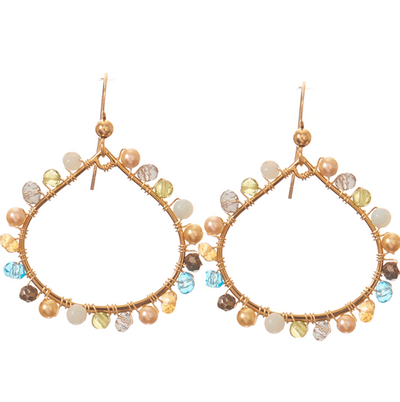 Lily Medium Petal Colorful Gems Hoops Earrings-Anna Balkan