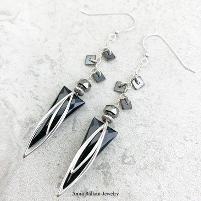 Black Obsidian Triangle Dangle Earrings - Anna Balkan