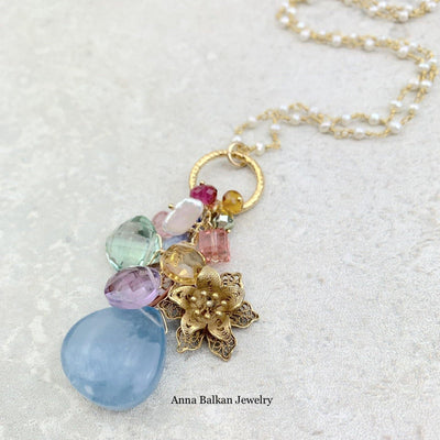 Filigree Flower and Aquamarine Pendant Style Necklace - Anna Balkan