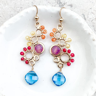 Ivy Colorful Bubble Gemstone Earrings - Anna Balkan