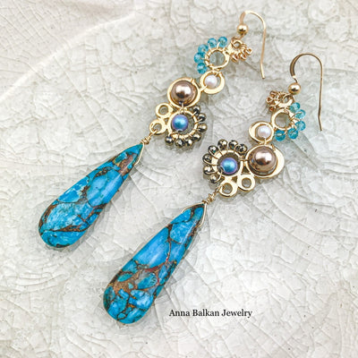 Copper Turquoise Joy Bubbles Earrings