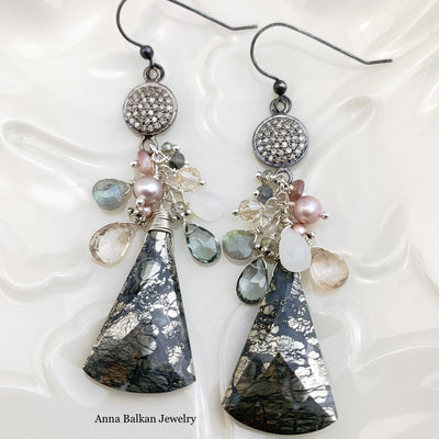 Marcasite and Pave Diamonds Statement Earrings - Anna Balkan