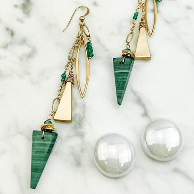 malachite triangle modern earrings