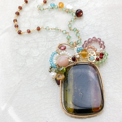 watermelon tourmaline one of a kind necklace