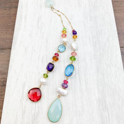 Mixed Metal Colorful Natalie Lariat Necklace - Anna Balkan