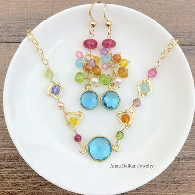 topaz mixed shapes necklace