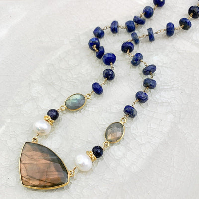 Lapis and Labradorite Statement Necklace - Anna Balkan