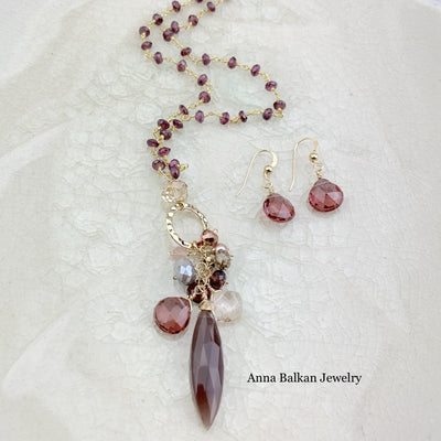 Chocolate Moonstone Pendant Necklace - Anna Balkan