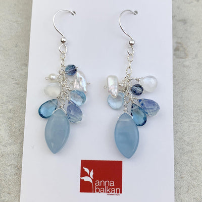 Natural Aquamarine Gem Earrings Limited edition - Anna Balkan