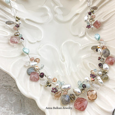 One of a Kind Strawberry Quartz Twist Necklace - Anna Balkan