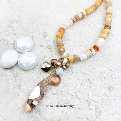 Wood Jasper and Fire Opals Necklace - Anna Balkan
