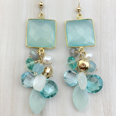 aqua chalcedony boho earrings