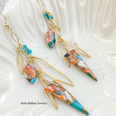 Copper Oyster Turquoise Spear Earrings - Anna Balkan