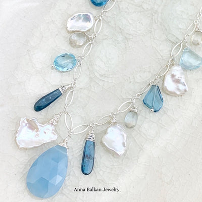 Aquamarine Mixed Shaped Gems Necklace - Anna Balkan