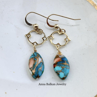copper oyster turquoise casual earrings