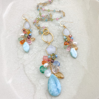 larimar and color jewelry set