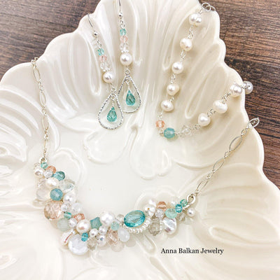 Tiffany colors inspired bridal jewrlry set