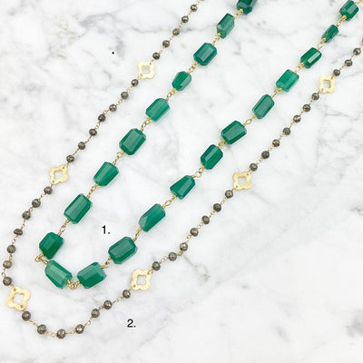 Emerald Green Onyx Layering Necklace - Anna Balkan