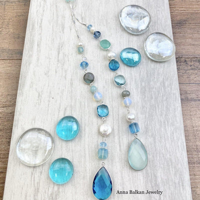 blue of summer inspired lariat necklace