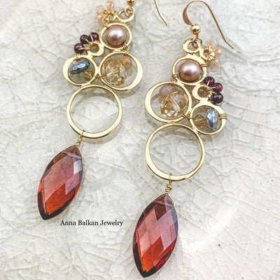 marsala quartz statement earrings