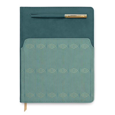 VEGAN LEATHER POCKET JOURNAL | COLORBLOCK TEAL RADIANT - Anna Balkan