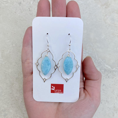 larimar statement earrings in silver