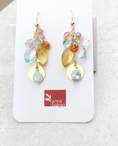gypsy colorful gemstone earrings