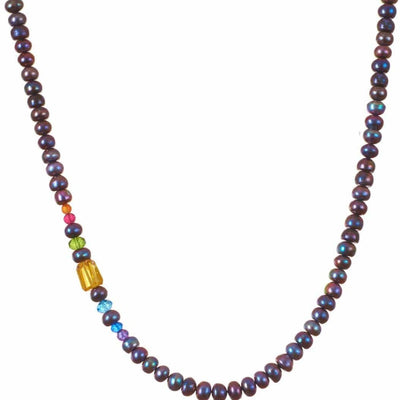 Rose 8mm Beaded Gemstone Necklace - Anna Balkan