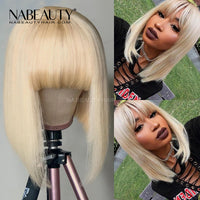 Blonde Bob With Bangs Lace Wig Front Lace Wig Brazilian 613 Bob Human Hair Wigs
