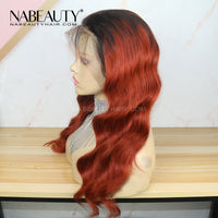 1B Orange Red Body Wave Lace Front Human Hair Wig Pre Plucked Hairline Brazilian Vrigin Wigs