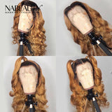 Honey Bloned Body Wave Front Lace Human Hair Wigs With Baby Hair Pre Plucked  Bleached Knots