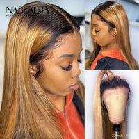 Ombre Honey Blonde Straight Front Lace Human Hair Wigs With Baby Hair Pre Plucked Bleached Knots