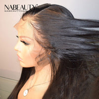 Straight Front Lace Human Hair Wigs Pre Plucked Hairline Brazilian Hair Wigs