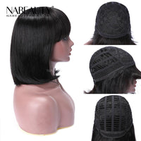 Bob With Bangs Full Machine Made Wig No Lace Front  Gluless Supper Affordable Virgin Hair Wig